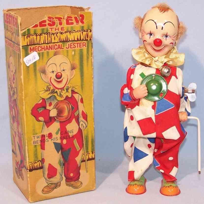 alps blech spielzeug clown mit uhrwerk blech  stoff