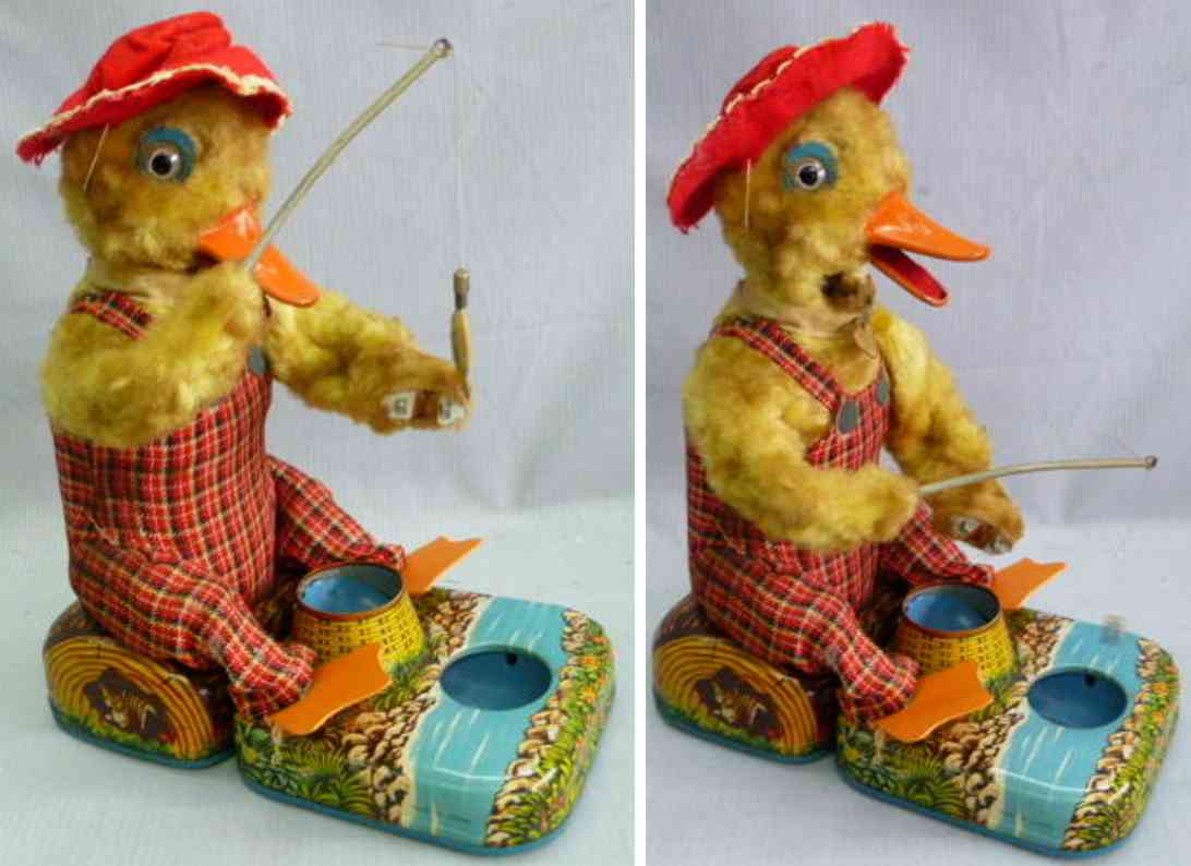 alps tin toy fishing duck battery-powered