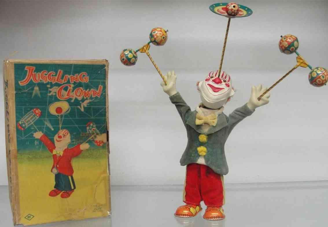 alps blech spielzeug jonglierender clown uhrwerk