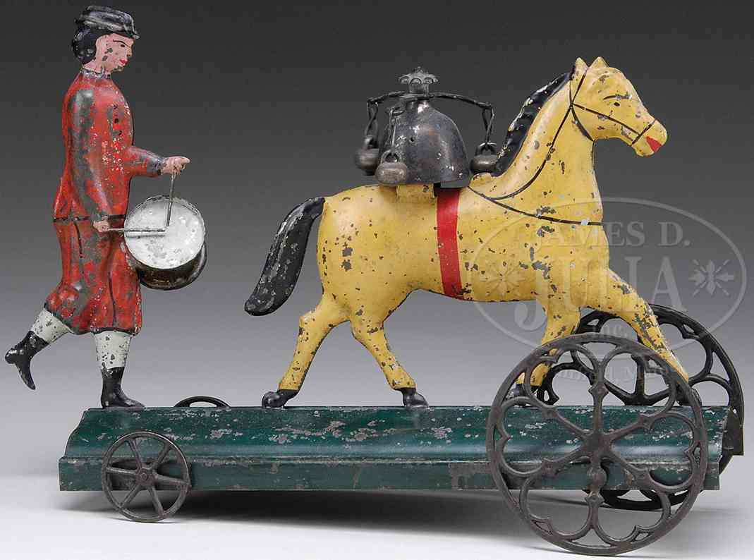 bergmann althof tin toy bell drummer boy horse