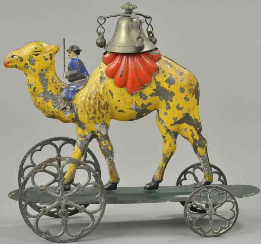 bergmann althof tin camel bell toy with rider