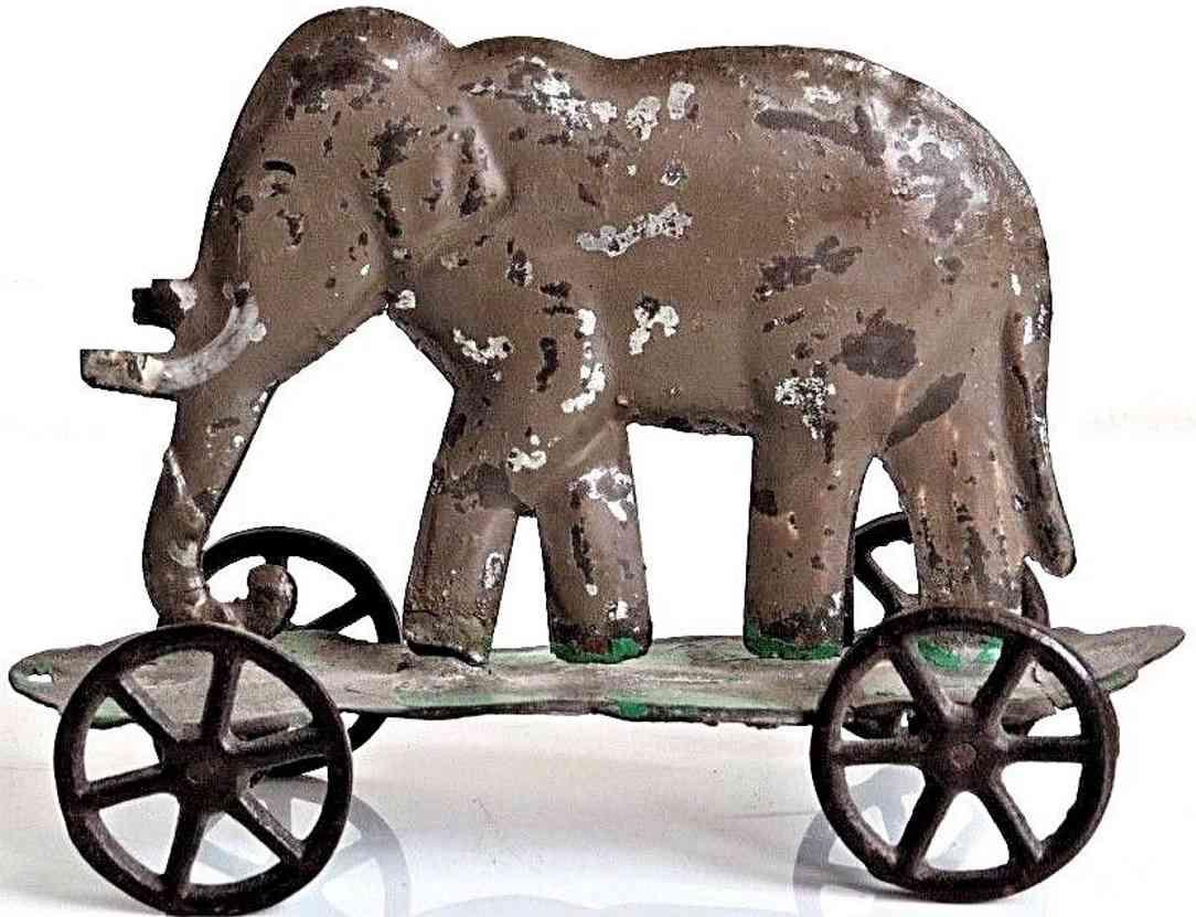 althof bergmann & co blech spielzeug elefant auf plattform als ziehspielzeug