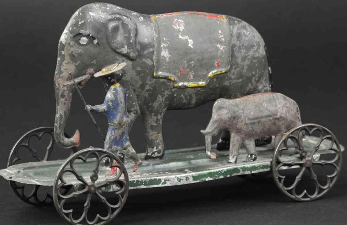 althof bergmann & co blech zwei elefanten mit trainer als ziehspiezeug