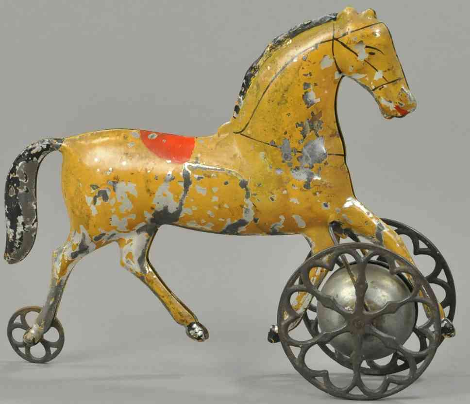 althof bergmann & co  cast iron brown horse as bell toy