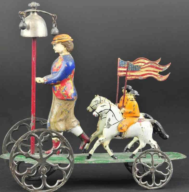 althof bergmann & co blech patriotisches glockenspielzeug frau zwei reiter