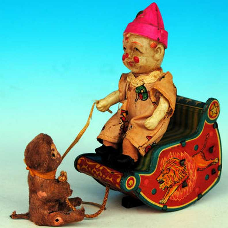 bandai tin toy clown celluloid clown and monkey