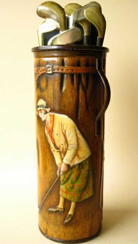 barringer, wallis & manners ltd tin toy antique tin golf bag man and woman putting; one of the nices