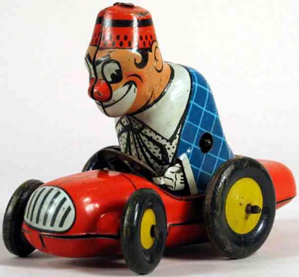 biller tin toy clown bimbo with clockwork auto
