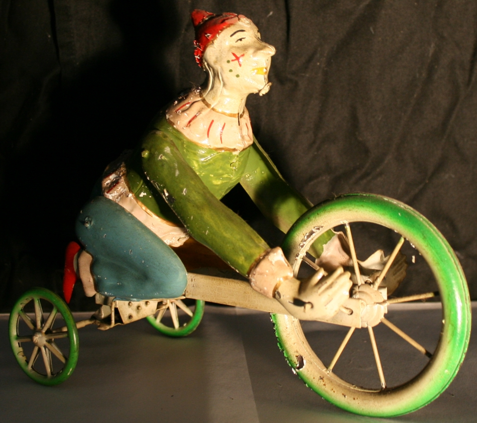 bing blech spielzeug clown mit uhrwerk auf dreirad