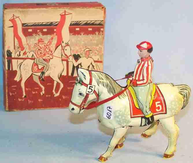 blomer & schueler 250 blech spielzeug pferd mit reiter uhrwerk