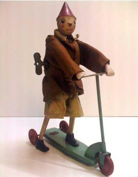 brevettato sigi tin toy pinocchio wind-up toy, tin, textile, wood and porcelain, it