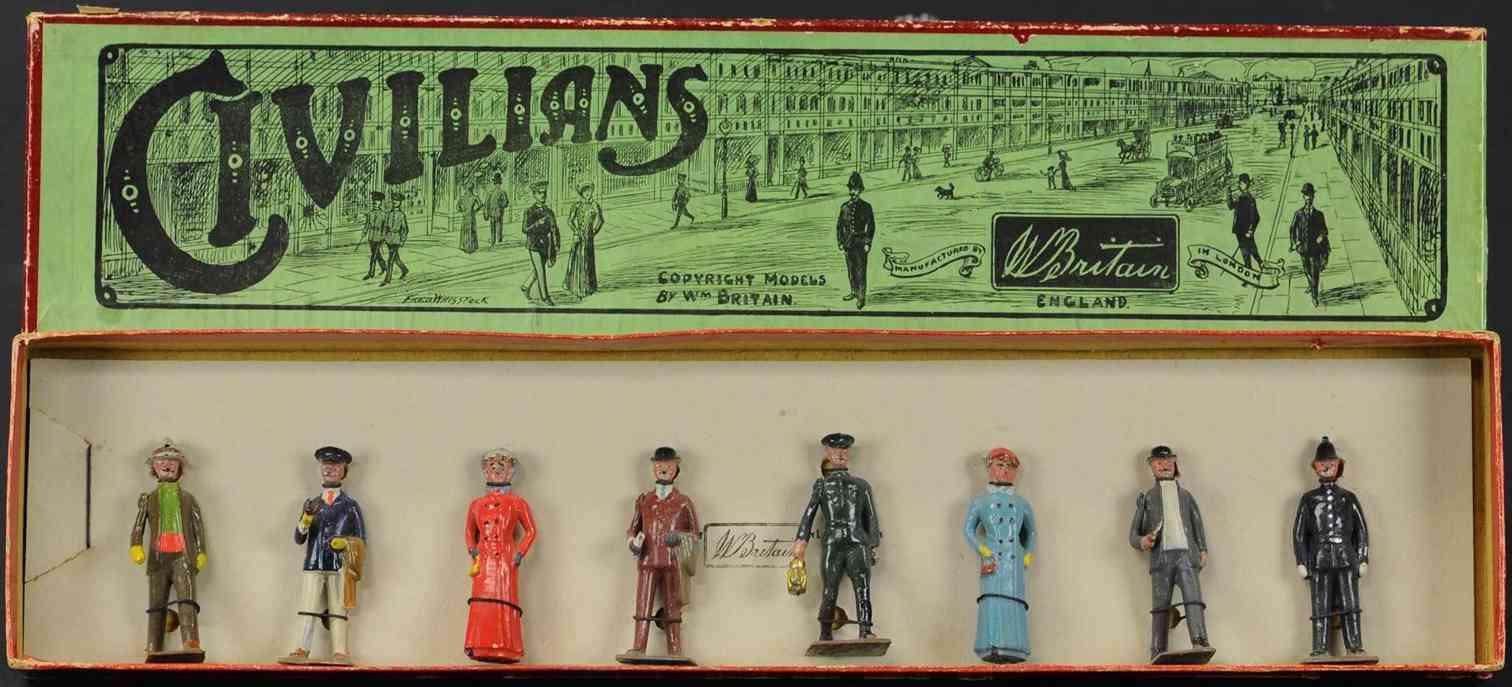 britains ltd toy 168 cast iron toy civilians set eight figures around london town