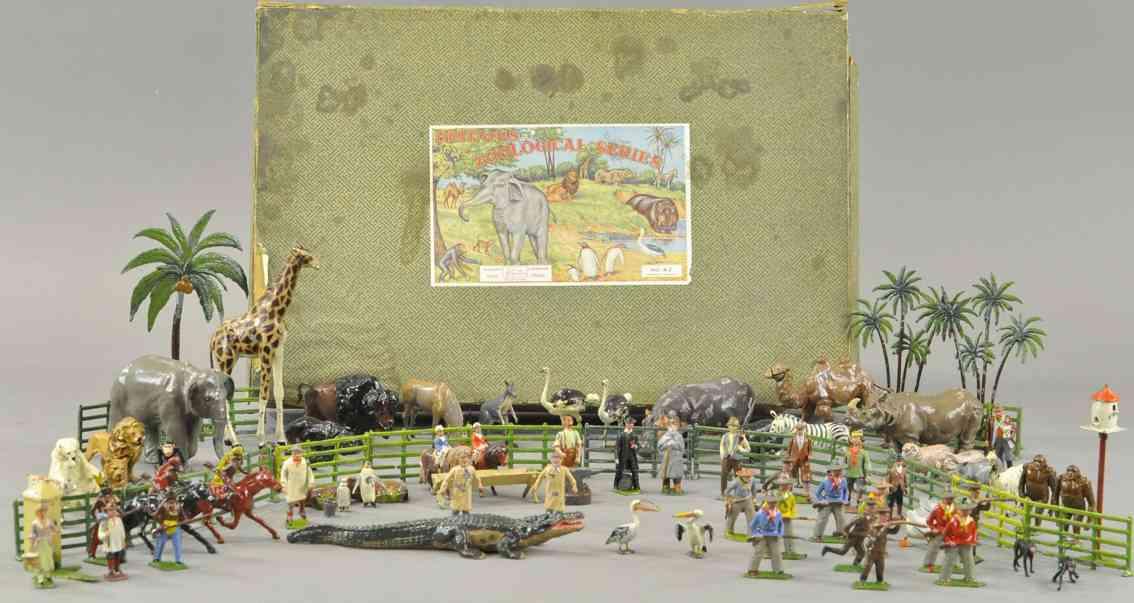 britains ltd toy 42 blech spielzeug zoo und zivilset westernfiugren tiere
