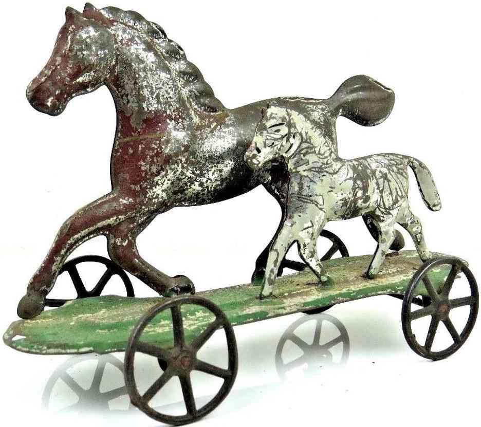 brown george blech ziehspielzeug pferd fohlen plattform