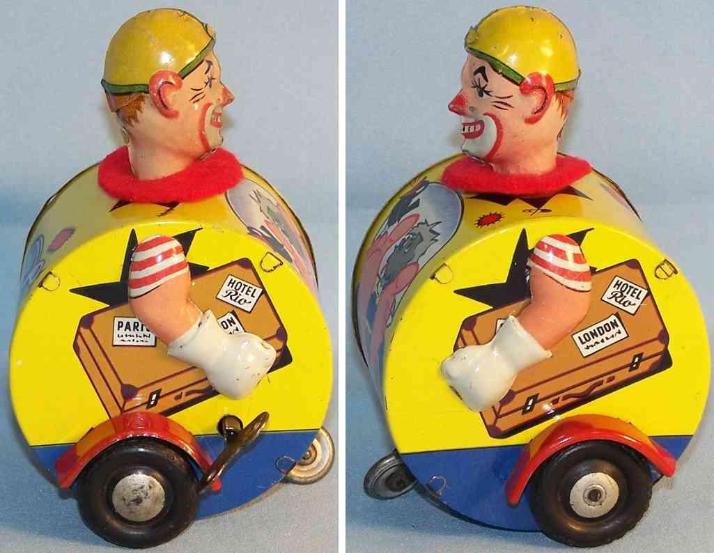 karl bub 1051 blech spielzeug jolly fahrender clown im fass uhrwerk