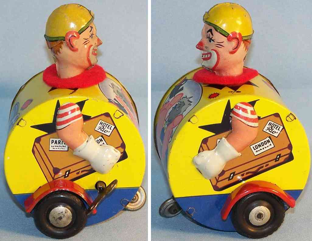 karl bub 1051 tin toy jolly driving clown with clockwork