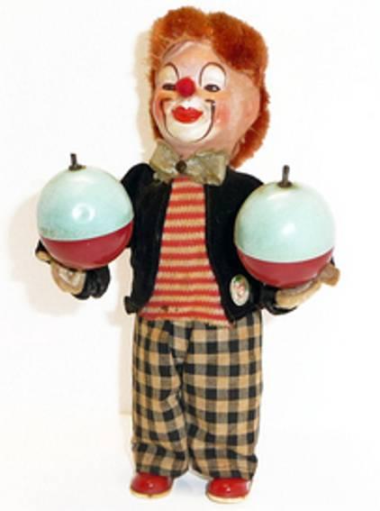 carl max blech spielzeug clown clown mit uhrwerk, aufgezogen schlägt der clown die samba-ku