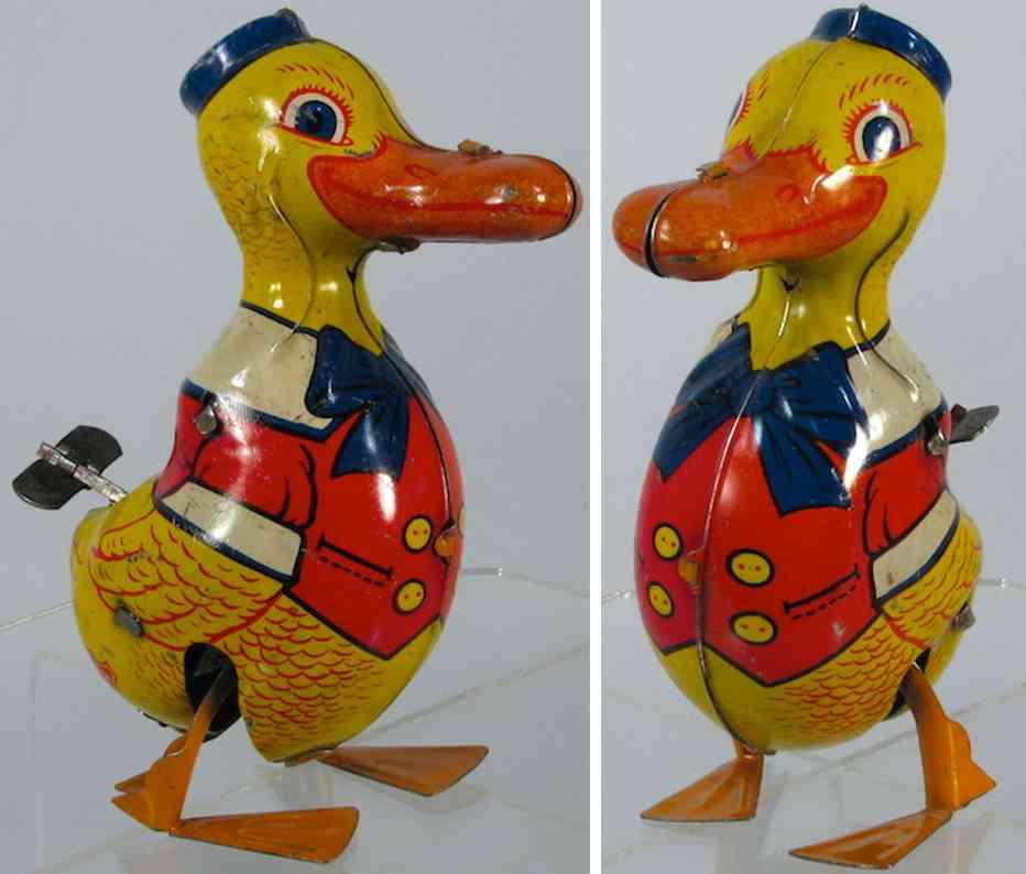 chein co. 102 blech spielzeug laufende ente mit kleidung donald duck