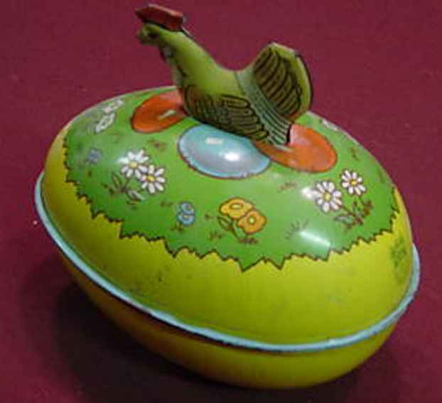 chein co 108 tin toy hen on egg, candy container