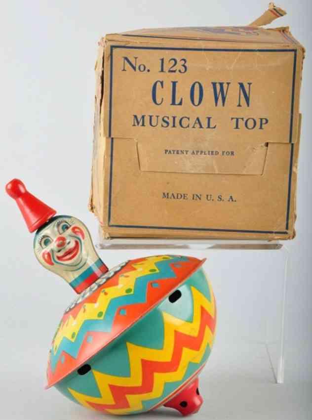 chein co 123 blech spielzeug clown musikkreisel mit clown