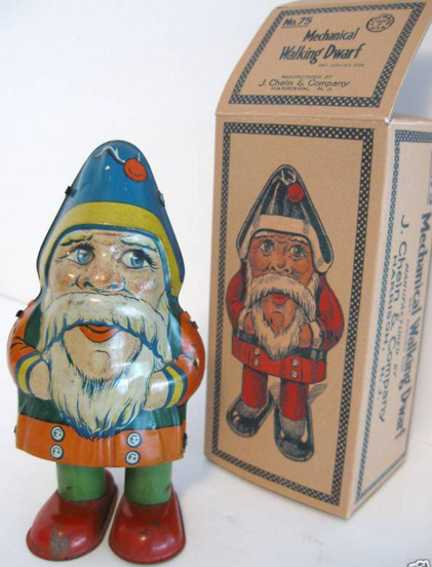 Chein Co. 75 Walking Santa Claus lithographed tin clockwork activated Mechanical Walking Dwarf