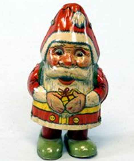 chein co 75 tin toy walking santa claus, lithographed, clockwork activated, woun
