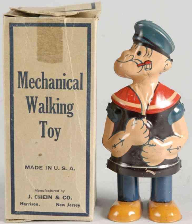 chein co 84 tin windup toy popeye walker