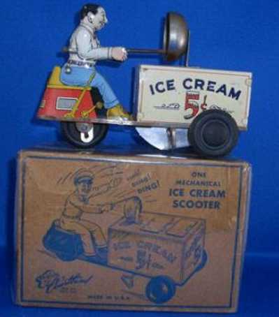 courtland 6500 tin toy motorcycle ice cream scooter with wind up