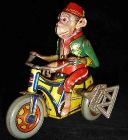 distler johann tin toy monkey on tricycle with clockwork