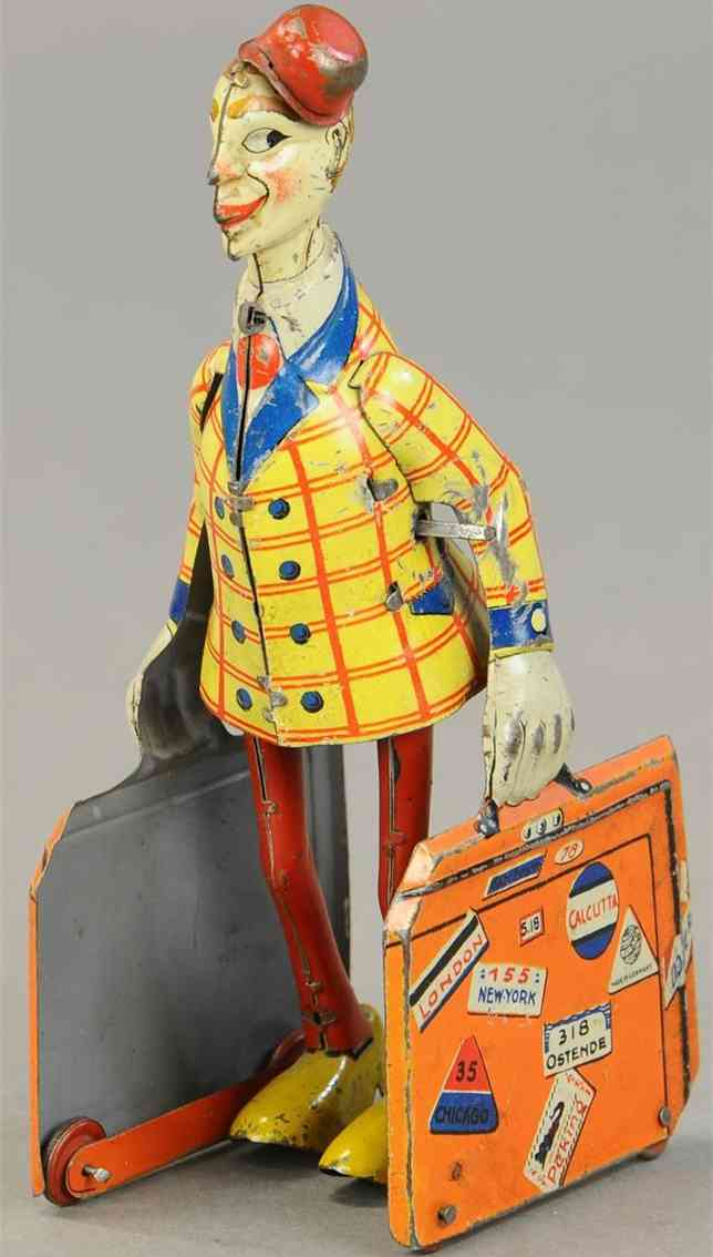distler johann blech spielzeug reisender mit koffer