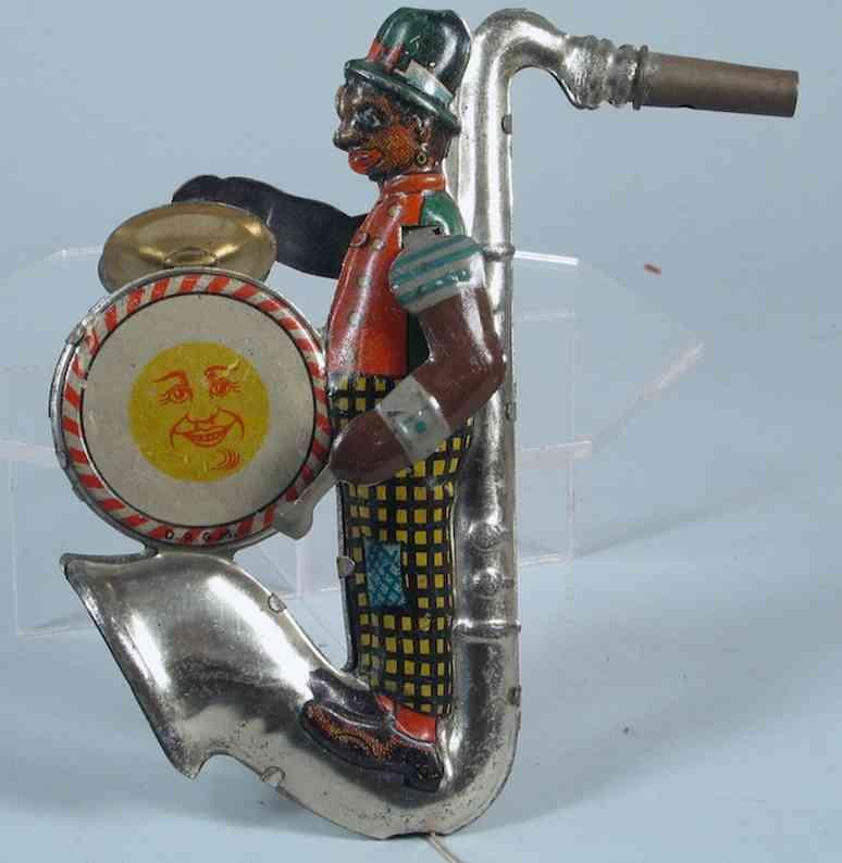 distler johann blech spielzeug ein-mann-band mit saxofon trommel mit becken