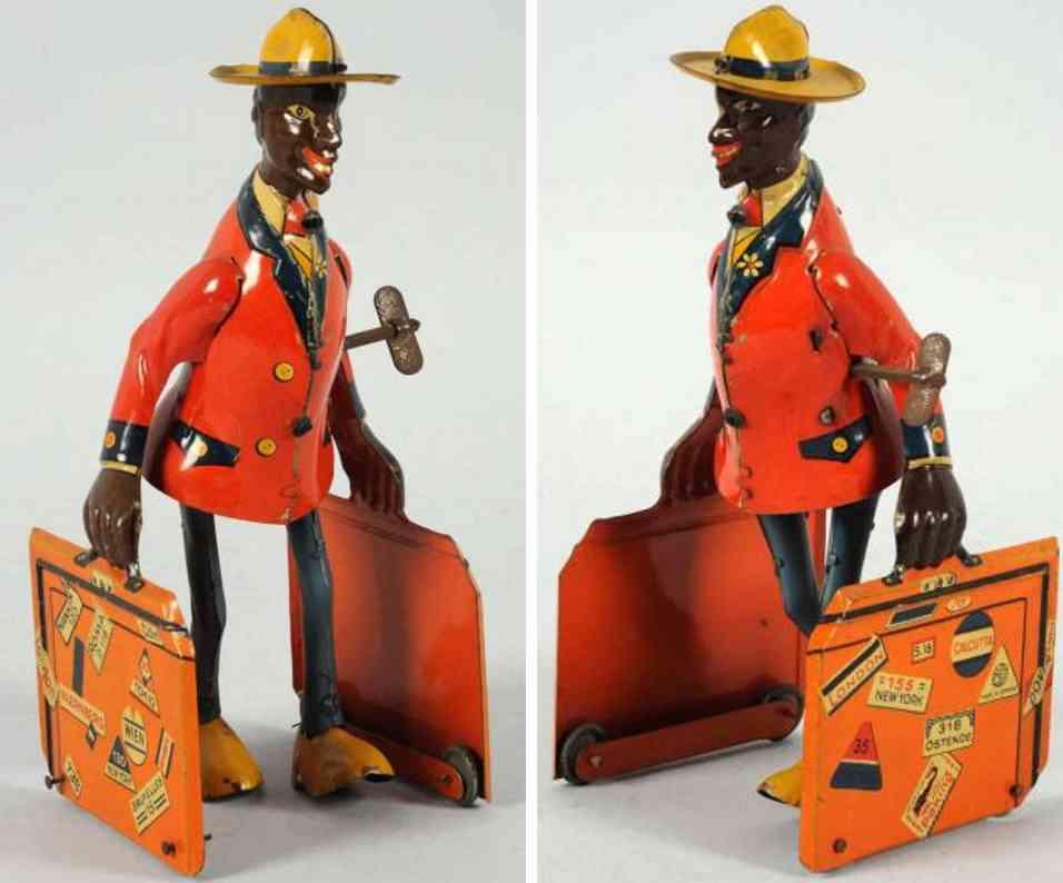 distler blech spielzeug schwarzer mann mit zwei koffern