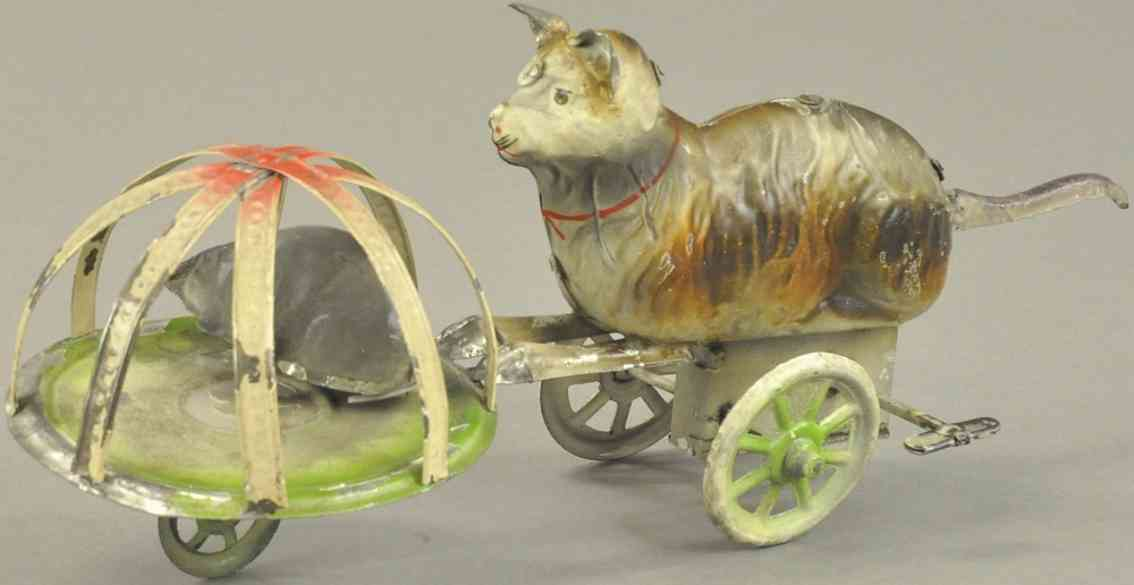 doll tin toy cat in cage and mouse clockwork
