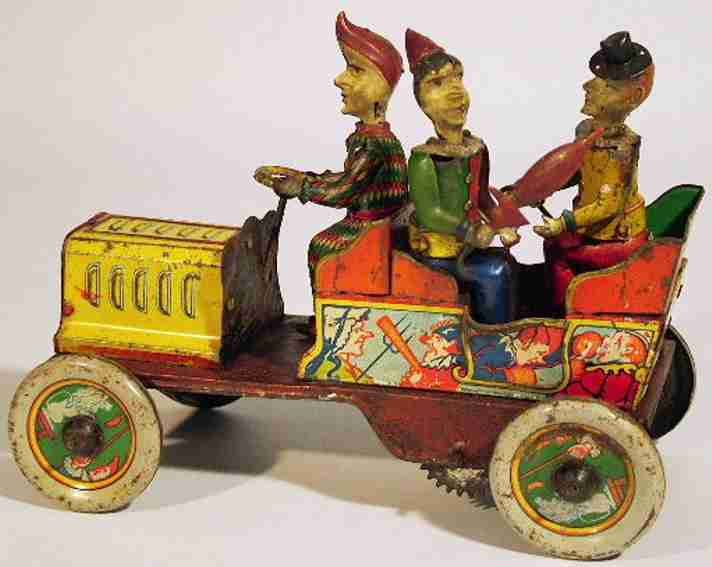 eberl hans blech spielzeug auto ta-ra-ra-bumm auto 3 clowns uhrwerkantrieb
