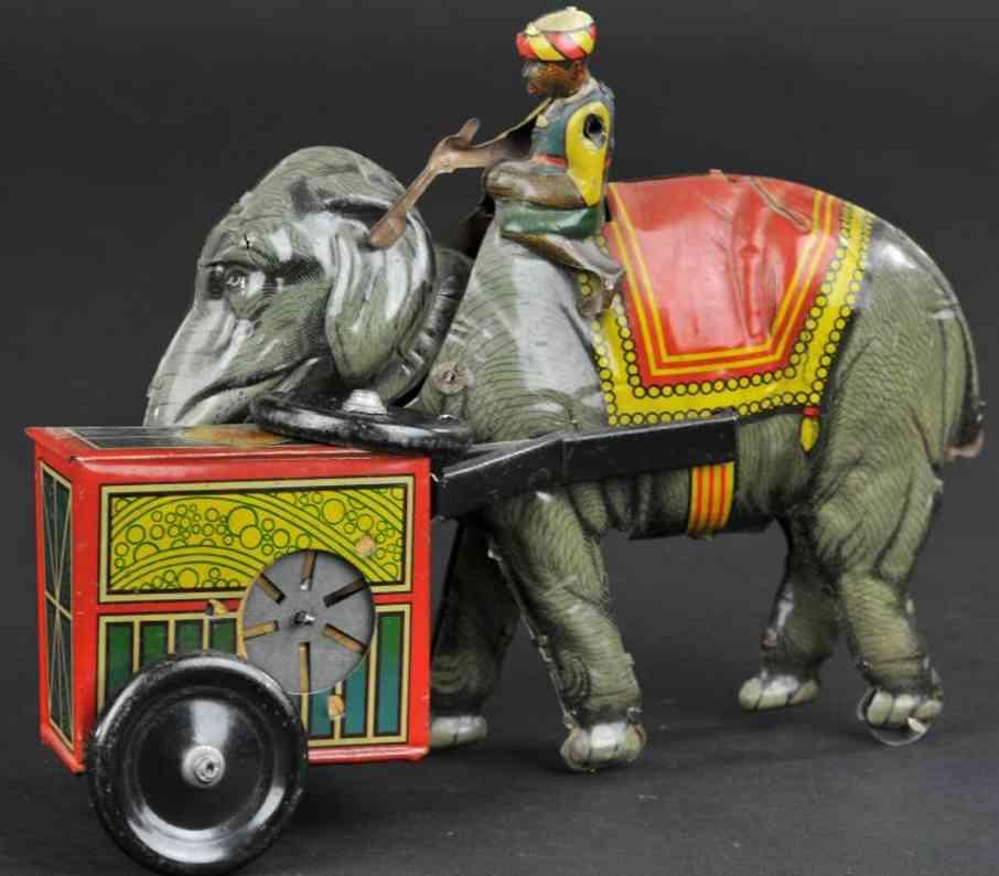 eberl hans  blech spielzeug eingeborener auf elefant mit spieluhr