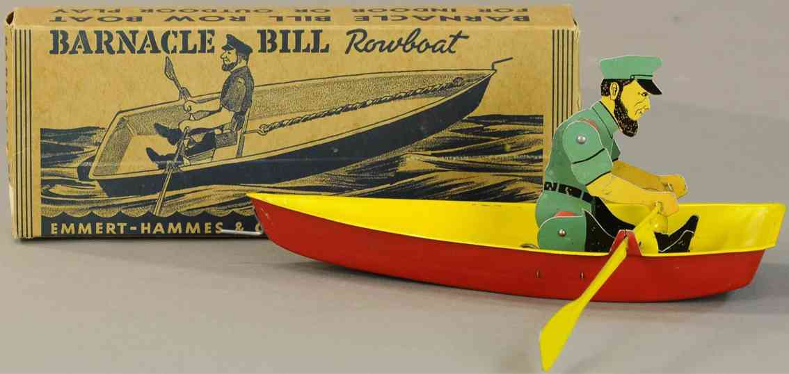emmert-hammes & co tin toy barnacle bill as sea captain in rowboat