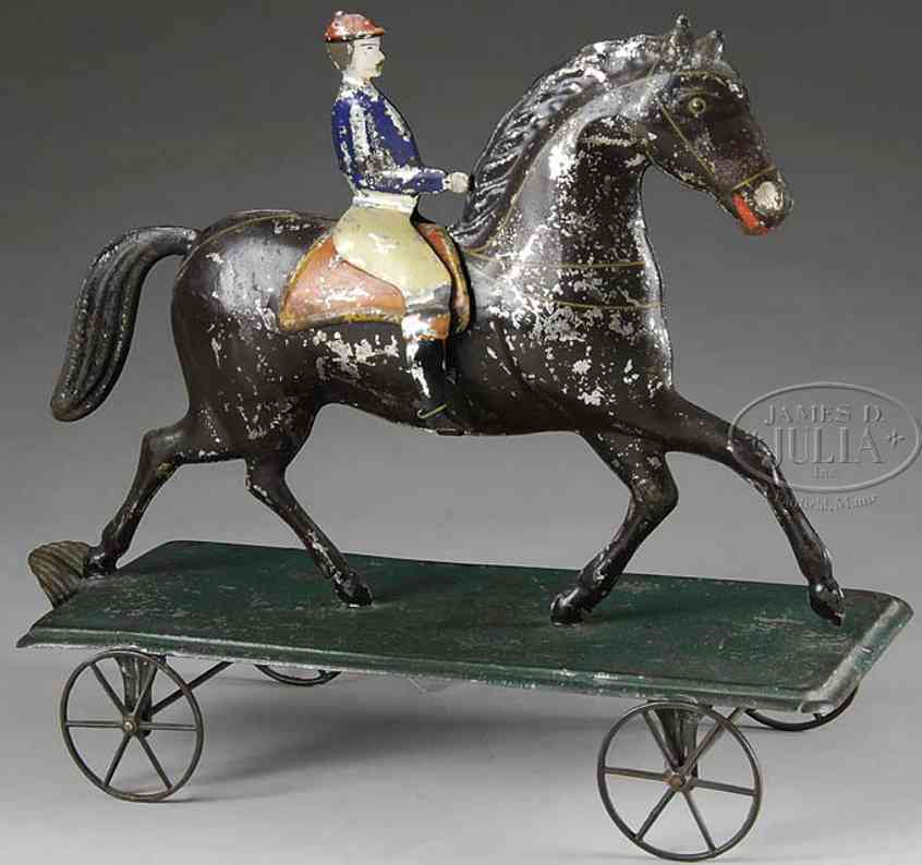 fallows blech spielzeug reiter pferd plattform raeder