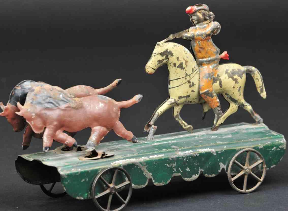 fallows spielzeug blech buffalo bill auf pferd jagt zwei bueffel