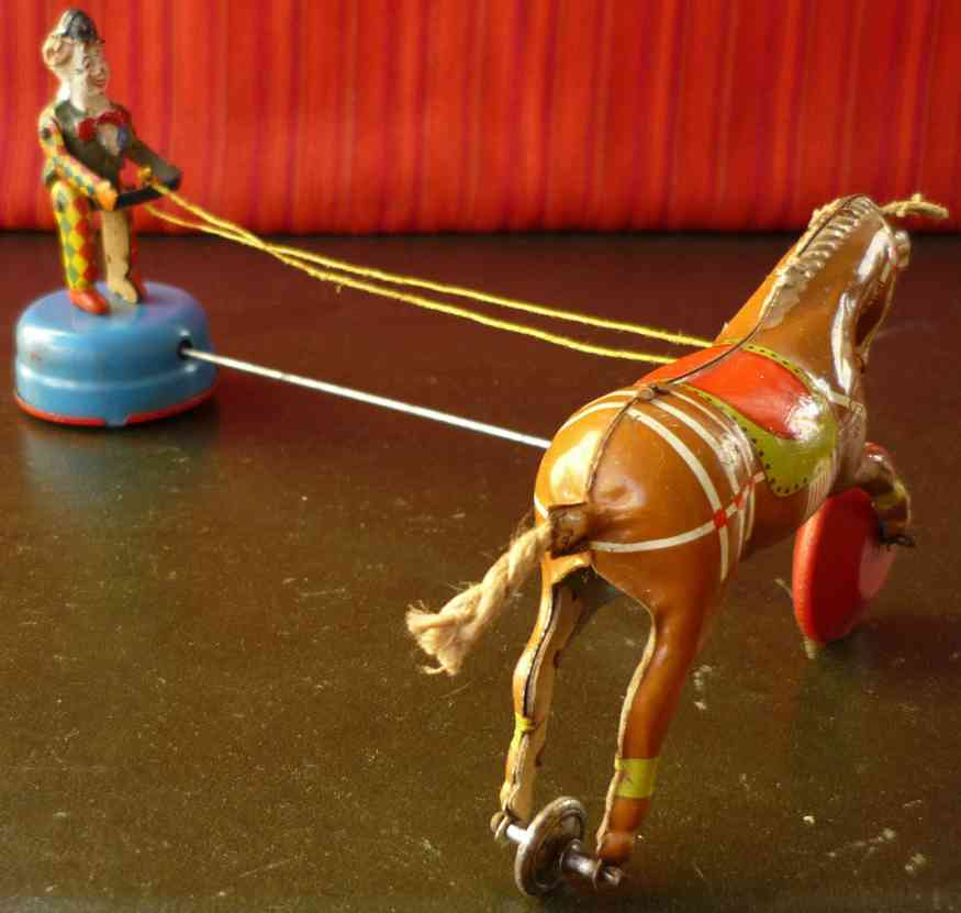 gama 40 tin toy circus clown with performing  horse