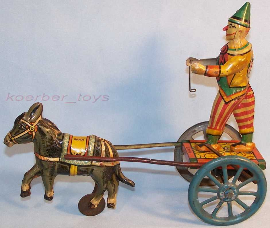 GAMA Clown mit Esel mit Zahnradantrieb