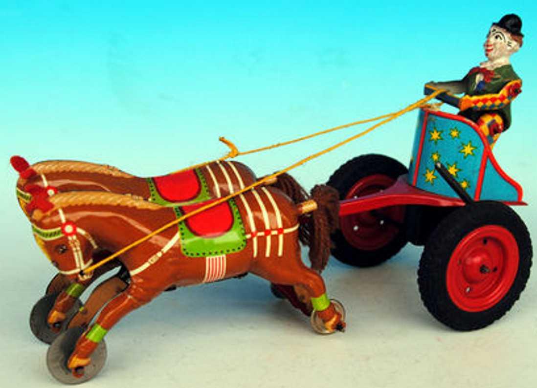gama blech spielzeug clown clown aus masse mit pferdewagen mit zwei pferden