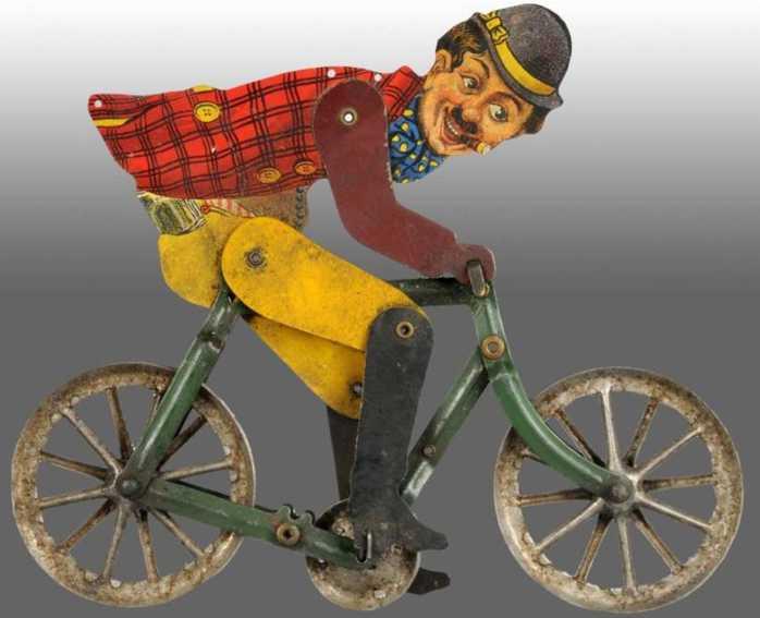 gilbert blech spielzeug charlie chaplin auf fahrrad