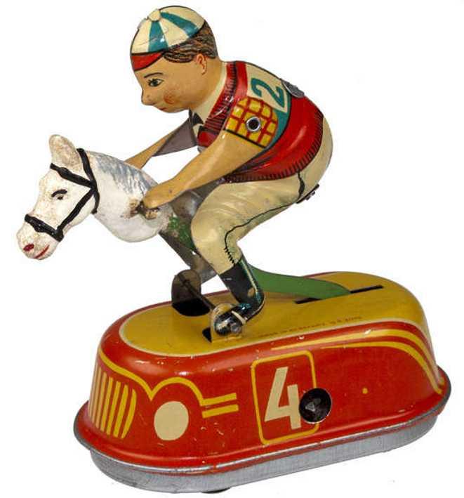 goeso blech spielzeug jockey scooter junge auf pferd mit uhrwerk