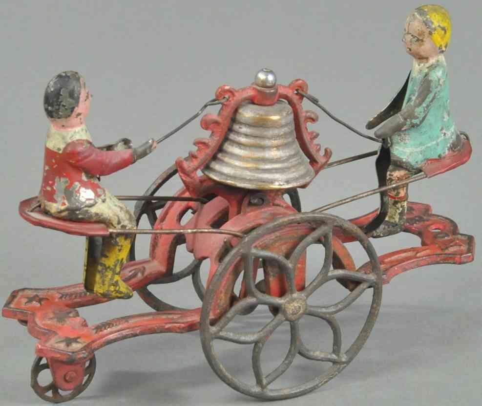 gong bell 24 spielzeug gusseisen blech mann und frau auf wippe
