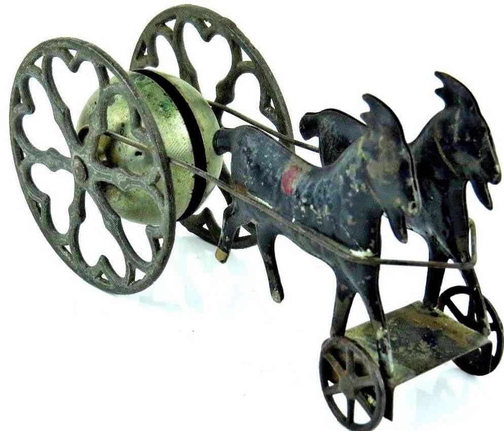 gong bell cast iron tin two goats revolving  bell pull toy