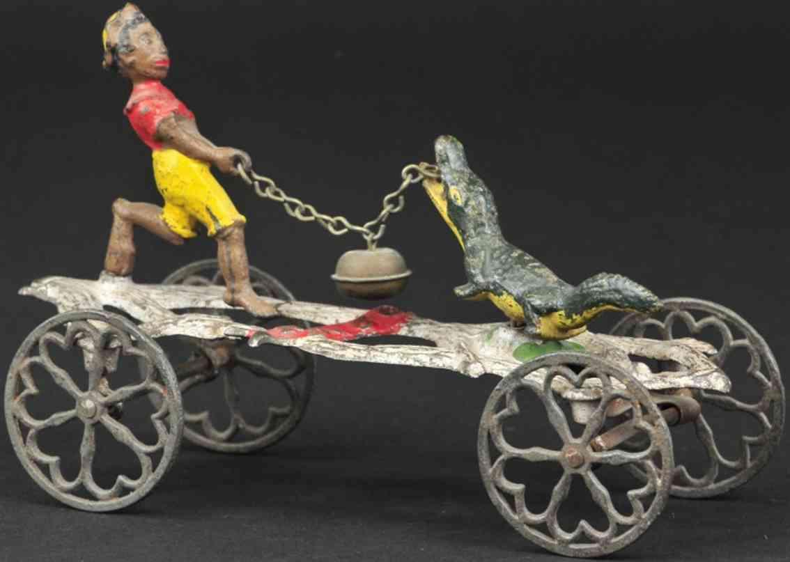 gong bell 56 spielzeug gusseisen alligator und mann als glockenspielzeug