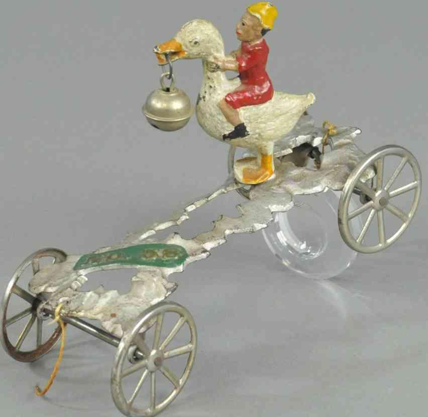 gong bell 58 spielzeug gusseisen gans mit reiter als glockenspielzeug