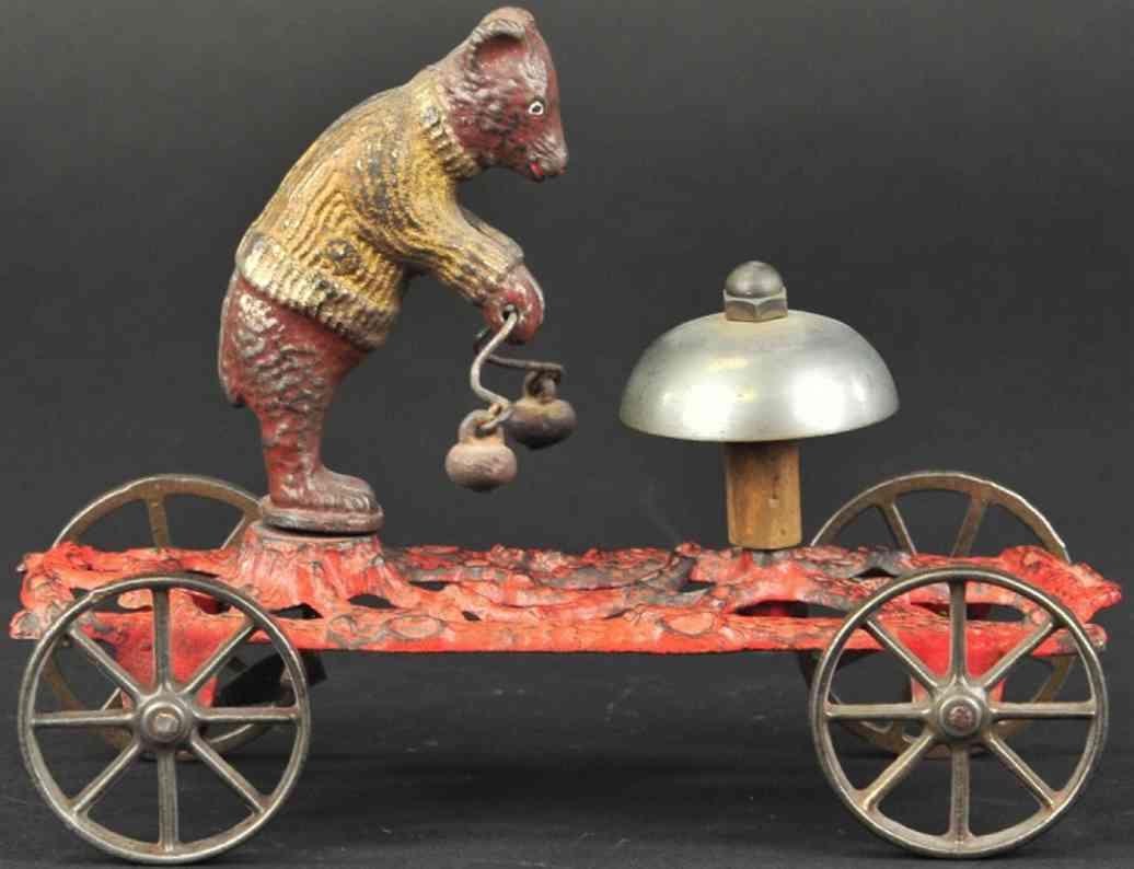 gong bell spielzeug gusseisen teddybaer als glockenlaeuter