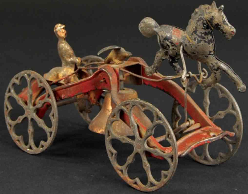 gong bell gusseisen mann auf karre mit pferd als glockenspielzeug