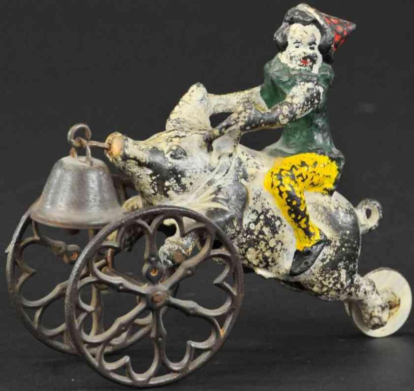 gong bell glockenspielzeug gusseisen clown auf schwein
